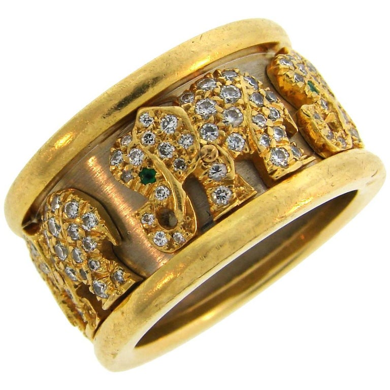 Cartier Diamond Emerald Gold Elephant Band Ring