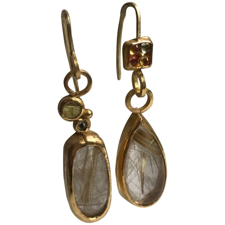 Rutilated Quartz Sapphire Tourmaline 22K-21K Gold Dangle Drop Earrings Handmade