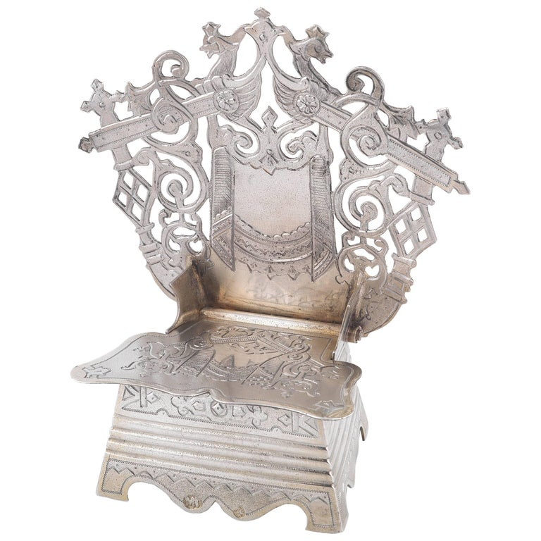 19th Century Russian Silver Throne Salt