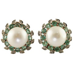 Emeralds, Diamonds, Pearls, Rose Gold, Silver Earrings