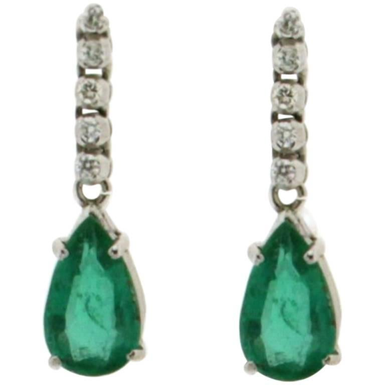 Colombian Emeralds White Gold Drop Earrings
