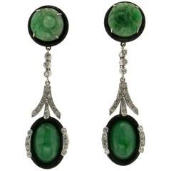 Jade Gold Onyx Diamonds Drop Earrings