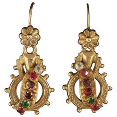 Antique Victorian Regard Earrings 18 Carat Gold, circa 1900