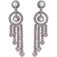 Edwardian Style Diamond and Pearl Tassel 18 Karat White Gold Earrings