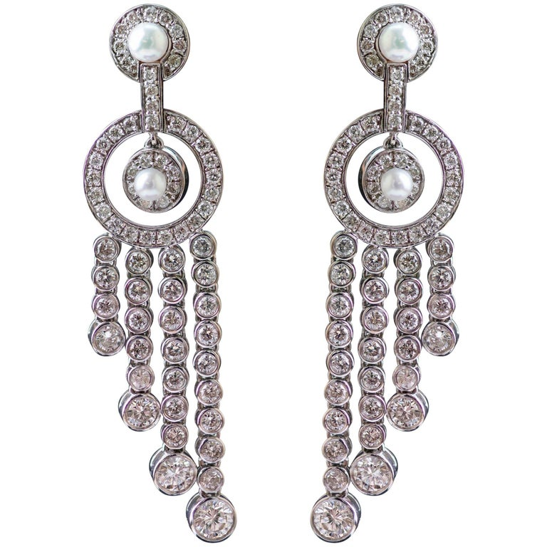 Diamond and Pearl Tassel Earrings
