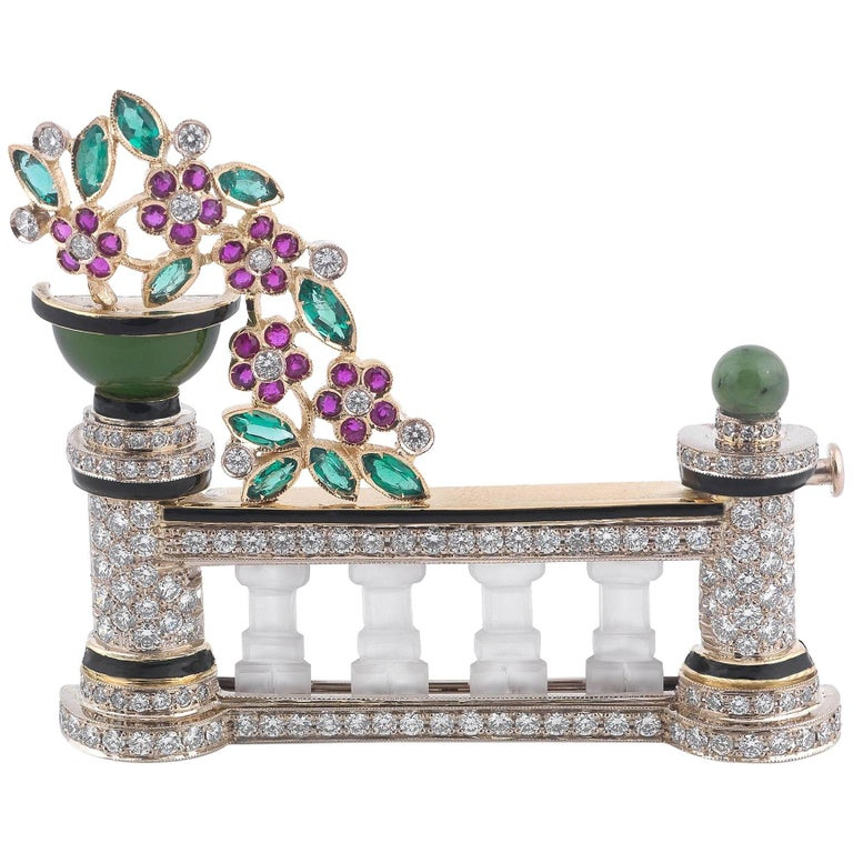 Gem-Set and Diamond Brooch