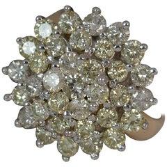 Bling Natural 1.75 Carat Diamond 18 Carat Gold Cluster Ring