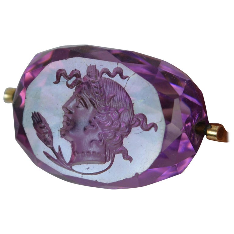 Victorian 15 Carat Gold and Amethyst Intaglio Swivel Fob Pendant For Sale