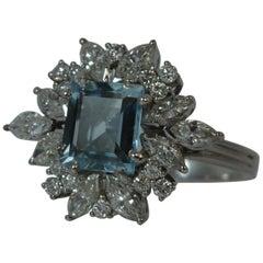 1960s Aquamarine Diamond Gold Cluster Ring
