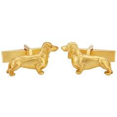 Dachshund Cufflinks in 9 Karat Gold Vermeil