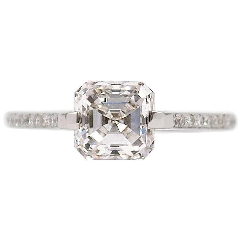 GIA Certified 1.72 Carat Asscher Cut E VS2 Diamond Ring by J. Birnbach