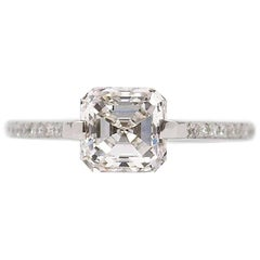 GIA Certified 1.72 Carat Asscher Cut E VS2 Diamond Ring by J. Birnbach