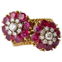 1950s-60s Italian Burma No Heat Rubies and Diamond Flower Crossover Ring
