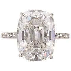 J. Birnbach GIA Certified 10.01 Carat Cushion Cut E VS2 Diamond Ring