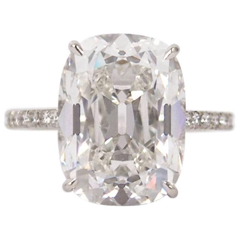 GIA Certified 10.01 Carat Cushion Cut E VS2 Diamond Ring