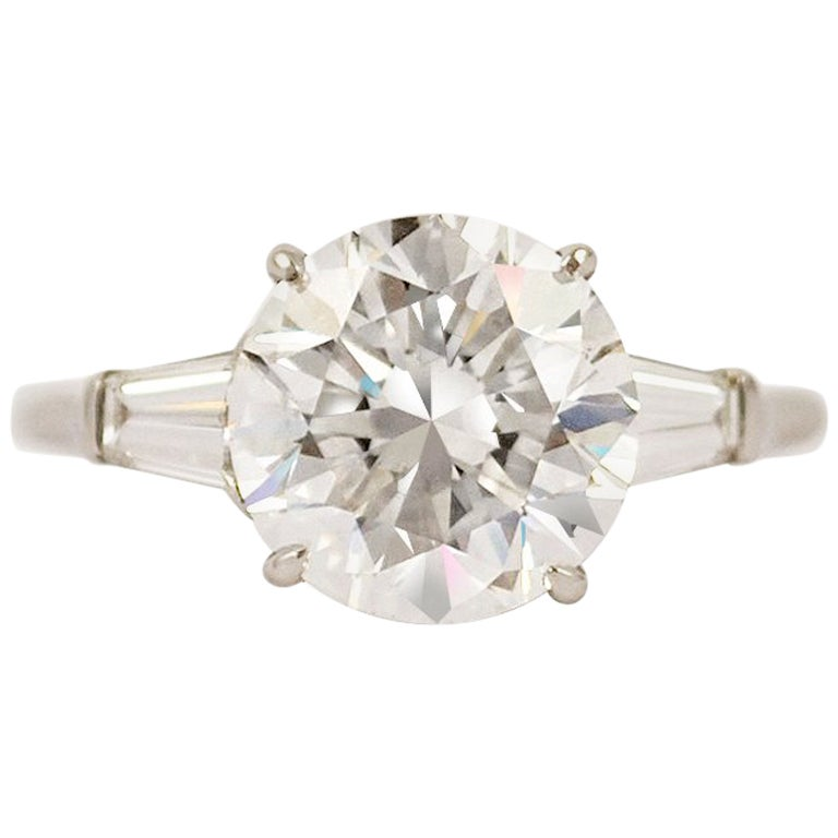 GIA Certified 4.01 Carat E VS2 Round Brilliant Engagement Ring by J. Birnbach