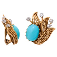 Turquoise and Diamond Retro Clip-On Earrings