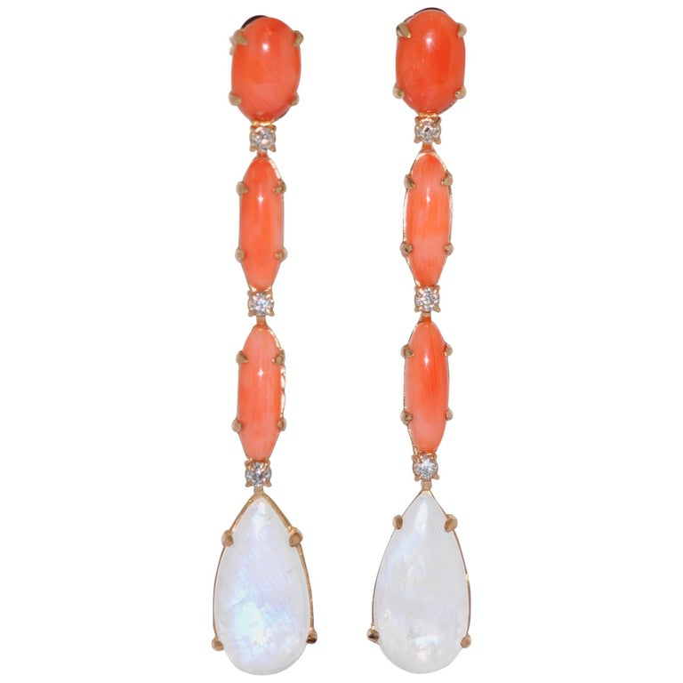 Coral, Moonstone and Diamond Yellow Gold Chandelier Earrings