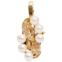 0.70 Carat Diamond and Pearl 14 Karat Yellow Gold Pendant