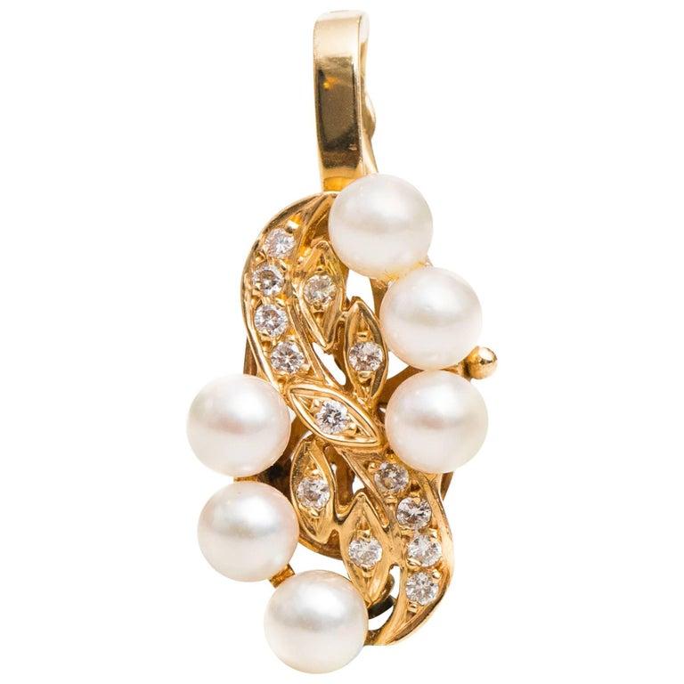 0.70 Carat Diamond and Pearl 14 Karat Yellow Gold Pendant