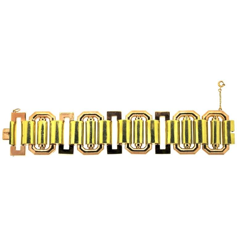 Midcentury Retro Wide Tank 18 Karat Bicolor Gold Bracelet