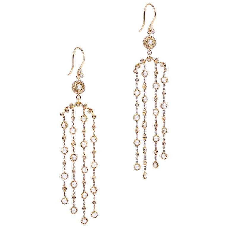 2.64ct. 14k Rose Gold Signature Twist Set Rose-Cut Diamond Chandelier Earrings 9