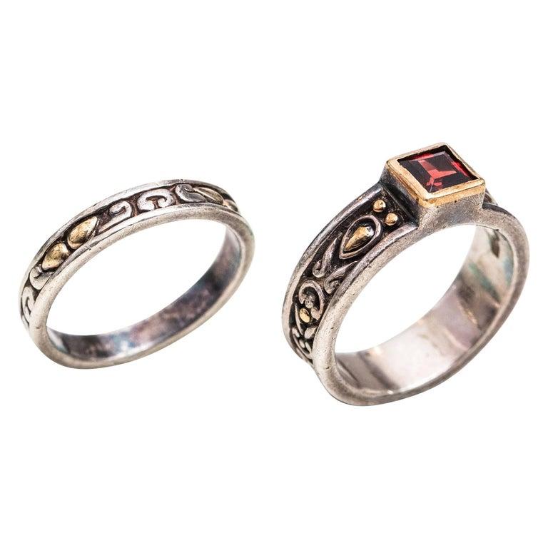 1980s James Avery Garnet, Sterling Silver, 18 Karat Yellow Gold Wedding Ring Set