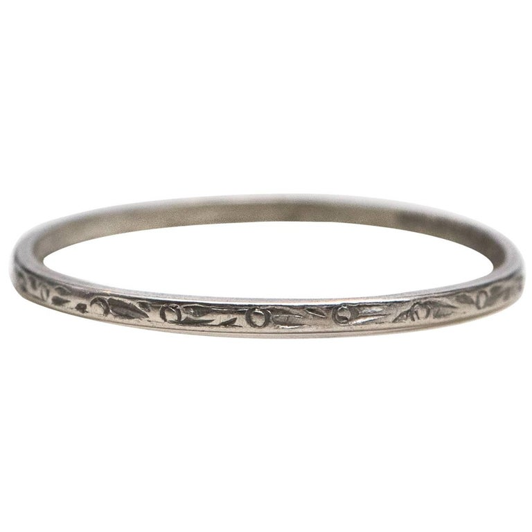 1937 Platinum Ultra Thin Wedding Band For Sale at 1stdibs