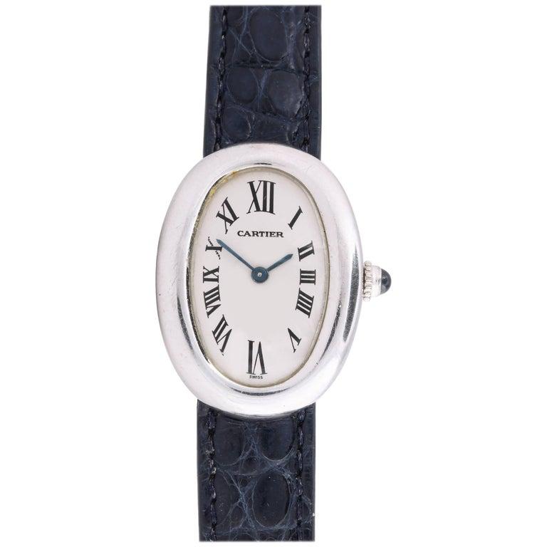 Cartier Ladies White Gold Baignoire automatic Wristwatch