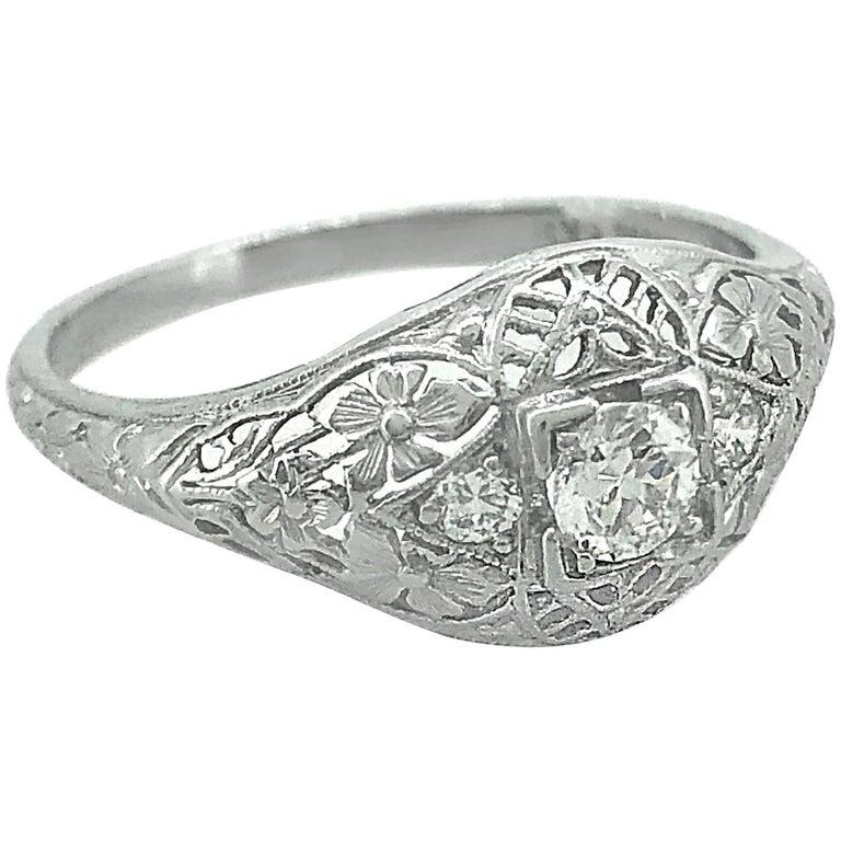 Platinum Engagement Rings Sale Uk: Antique .20 Carat Diamond Engagement Ring Platinum For