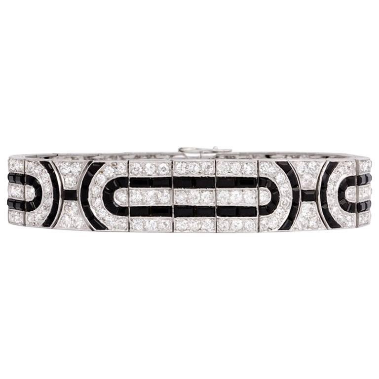 French Art Deco Diamond and Onyx Bracelet with Geometric Motifs