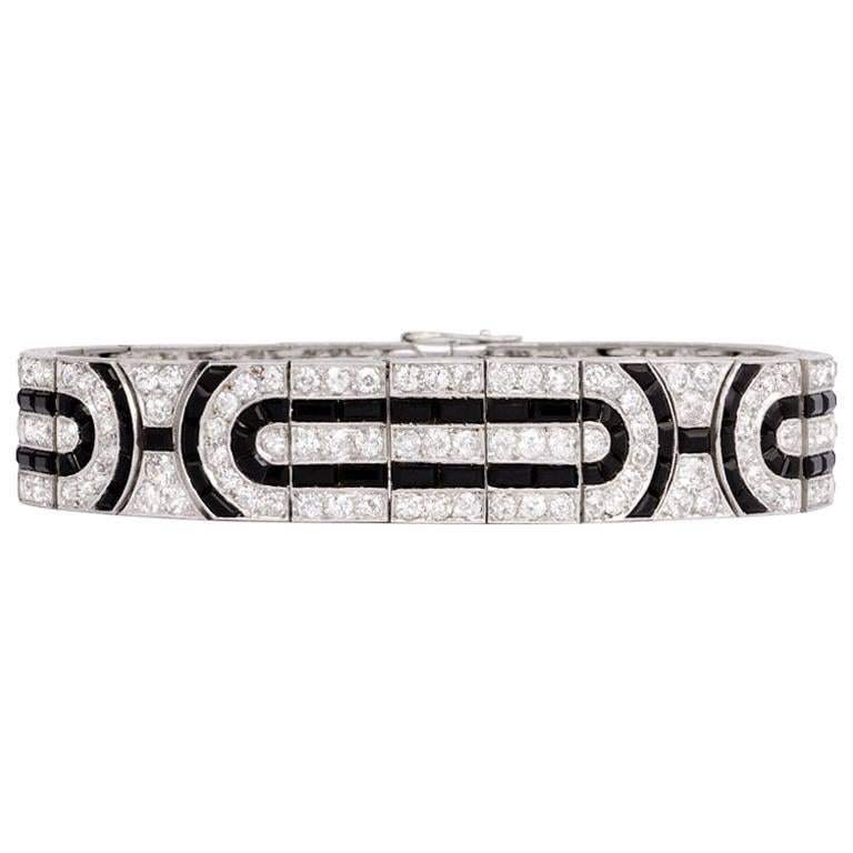 French Art Deco Diamond and Onyx Bracelet