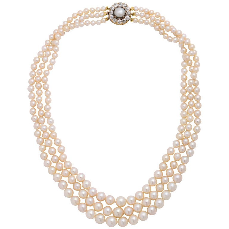 Cultured Pearl Necklace with Antique Diamond Clasp For Sale