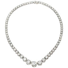 Platinum Round Diamond Riviere Necklace