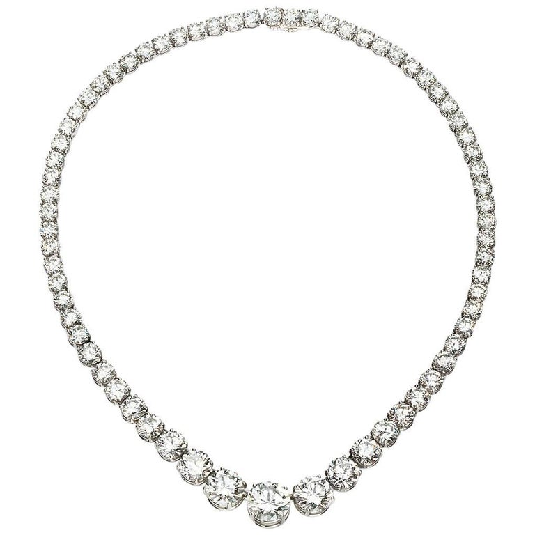 Platinum Round Diamond Riviere Necklace