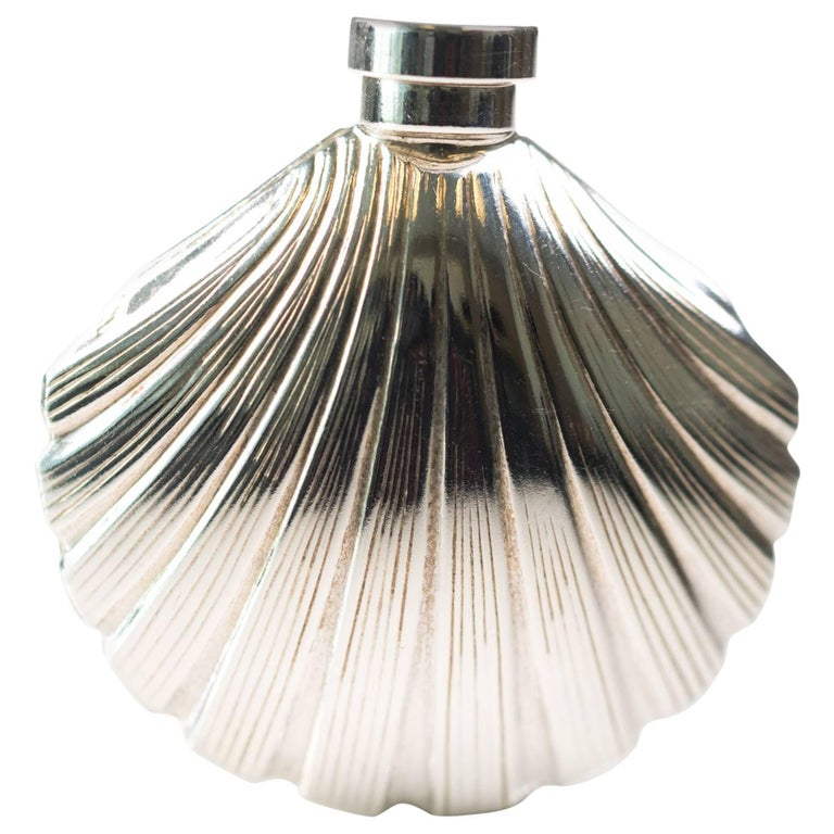 1960s Tiffany and Co. Sterling Silver Scallop Sea Shell Perfume Bottle