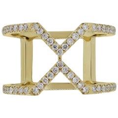 "Diamond ""x"" Wide Band Ring"