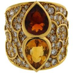 Marina B. Topaz Citrine Diamond Yellow Gold Ring, 1985