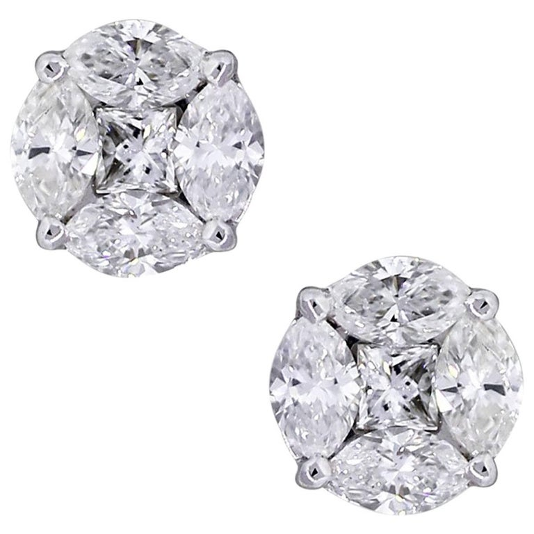 Princess and Marquise Cut Diamond Mosaic Stud Earrings