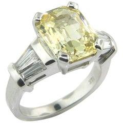5.44 Carat Unheated Yellow Ceylon Sapphire and Diamond 18 Karat Ring