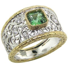 Tourmaline, Diamond and 18 Karat Gold Florentine Engraved Ring, Made in Italy