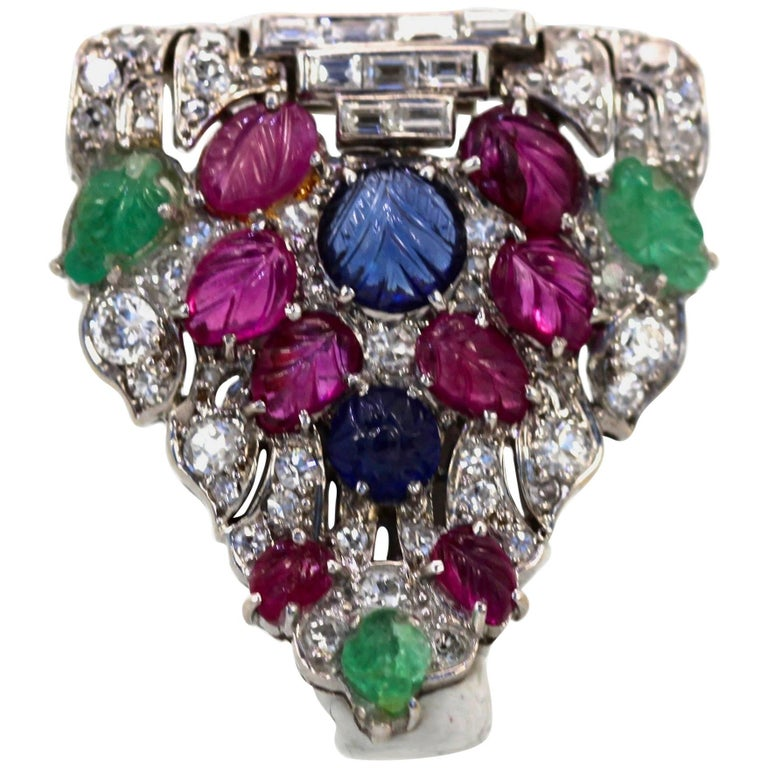 Art Deco Platinum Carved Ruby, Sapphire, Emerald, Diamond Brooch