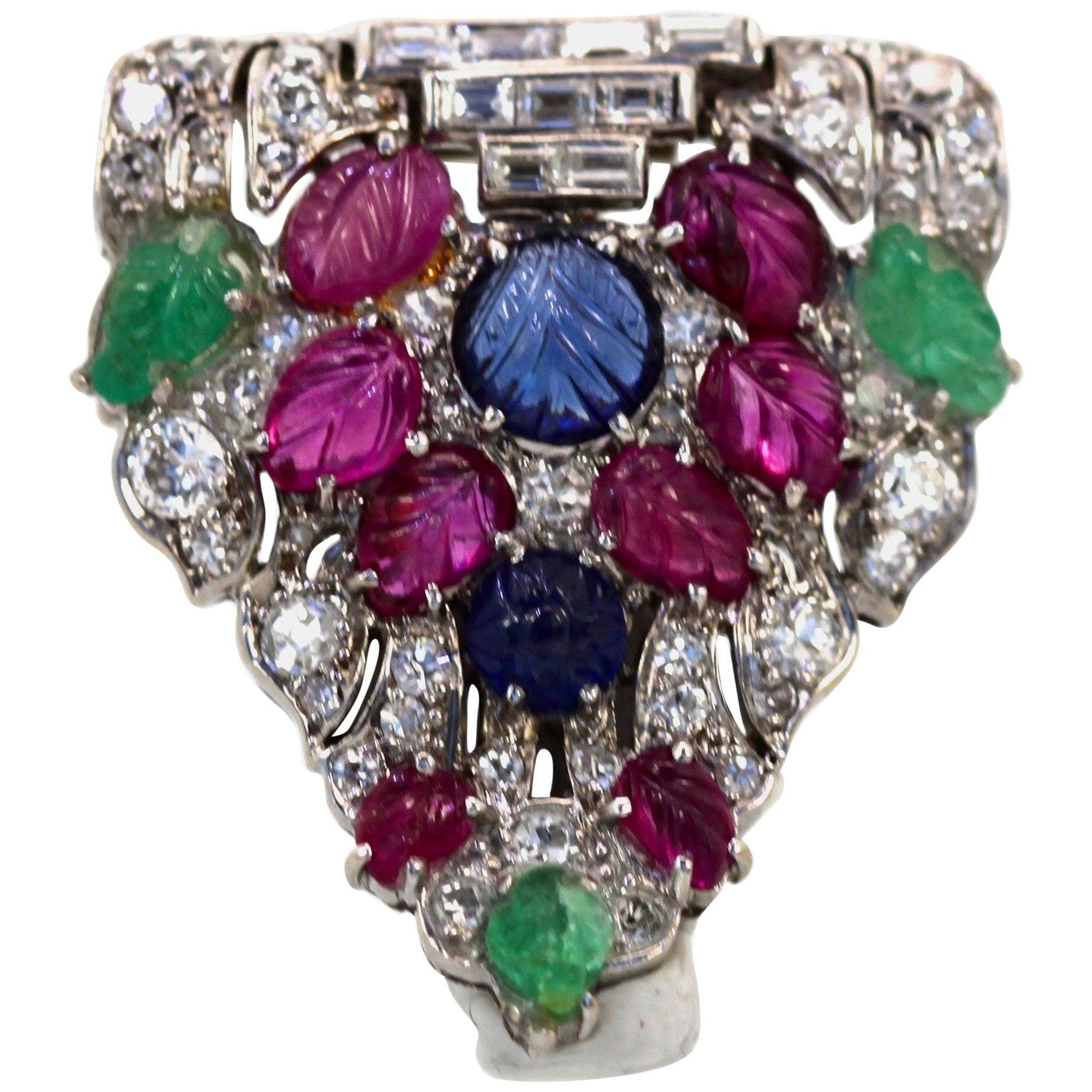 Art Deco Platinum Carved Ruby, Sapphire, Emerald, Diamond Brooch
