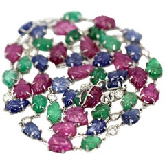 35.91 Carat Sapphires, Emeralds, Rubies, Diamond Platinum Necklace