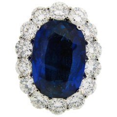 Natural Sapphire Diamond Gold Ring, 8.16-carat Burmese No Heat AGL Gem Report