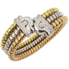 Three Color Gold Diamond Bangle