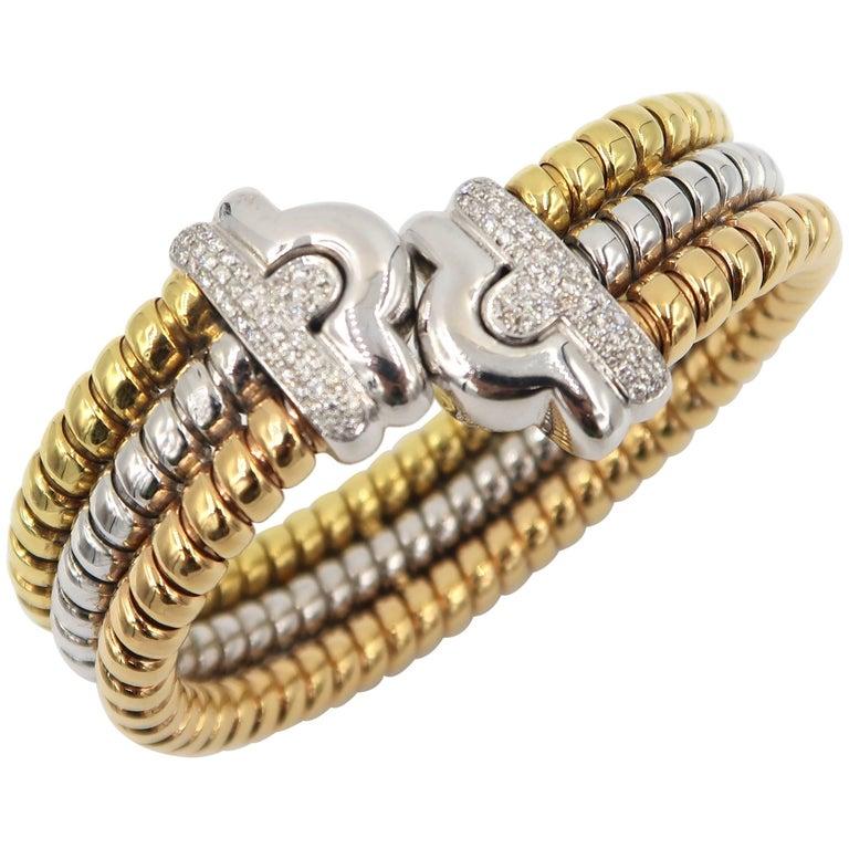 Three Color Gold Diamond Bangle