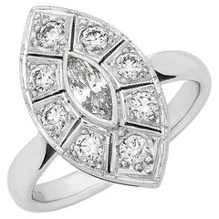 Navette Shape Marquise Diamond Art Deco Style Ring