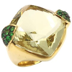 Lemon Quartz Tsavorite Yellow Gold Cocktail Ring