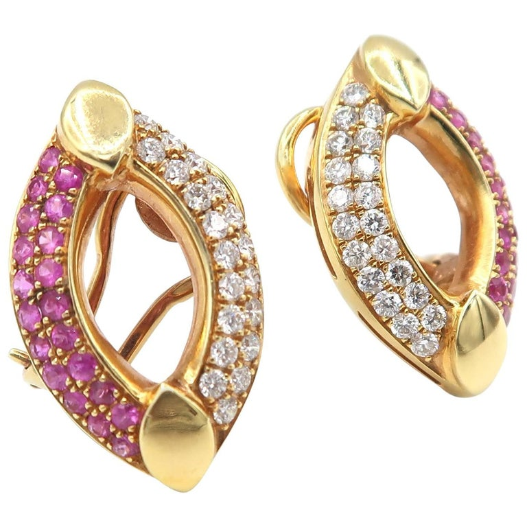 For Non Pierced Pink Sapphire Diamond Rose Gold Clip Earrings